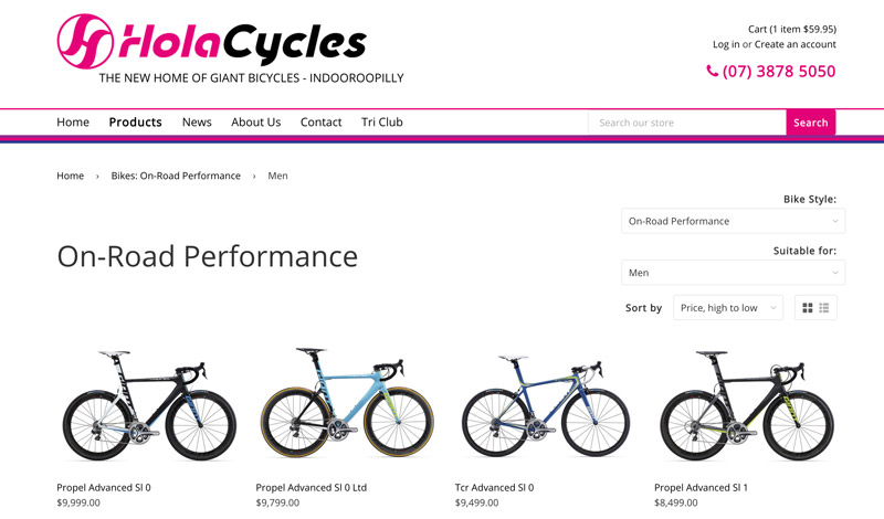 Hola Cycles Bikes product page