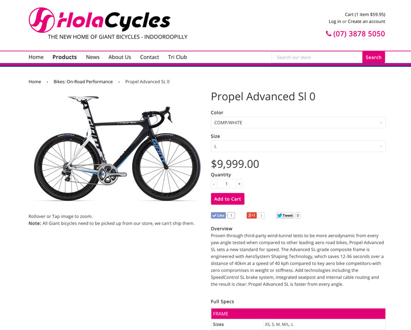 Hola Cycles product details page