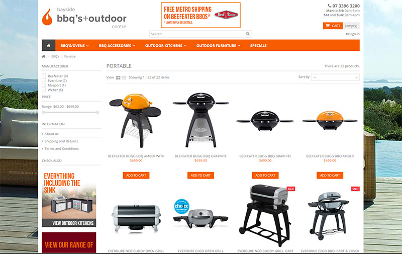 Bayside BBQ's products page